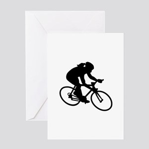 Cycling woman girl Greeting Card