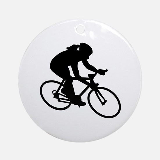 Cycling woman girl Round Ornament
