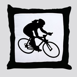 Cycling woman girl Throw Pillow