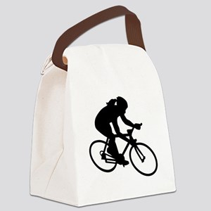 Cycling woman girl Canvas Lunch Bag