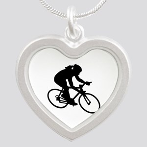 Cycling woman girl Silver Heart Necklace