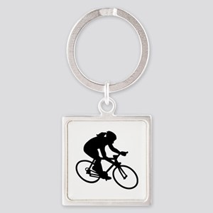 Cycling woman girl Square Keychain