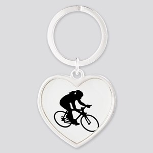 Cycling woman girl Heart Keychain