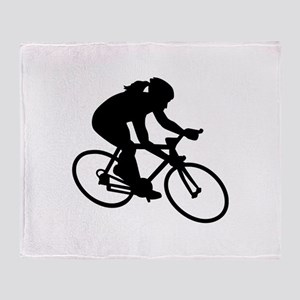 Cycling woman girl Throw Blanket