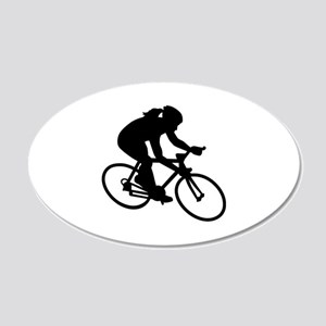 Cycling woman girl 20x12 Oval Wall Decal
