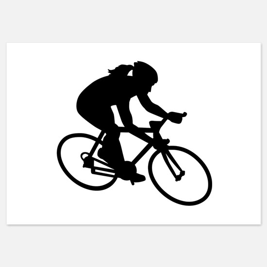 Cycling woman girl 5x7 Flat Cards