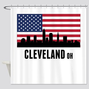 Cleveland OH American Flag Shower Curtain