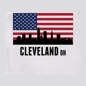 Cleveland OH American Flag Throw Blanket