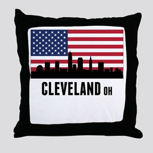 Cleveland OH American Flag Throw Pillow