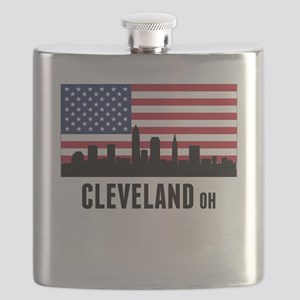 Cleveland OH American Flag Flask