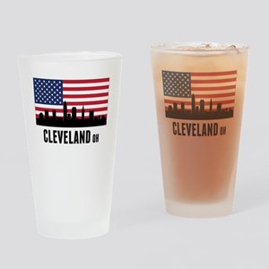 Cleveland OH American Flag Drinking Glass