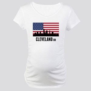 Cleveland OH American Flag Maternity T-Shirt