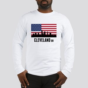 Cleveland OH American Flag Long Sleeve T-Shirt