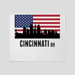 Cincinnati OH American Flag Throw Blanket