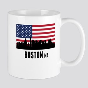 Boston MA American Flag Mugs