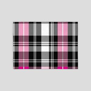 pink & black plaid 5'x7'Area Rug