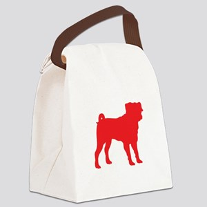 Pug Red 1C Canvas Lunch Bag
