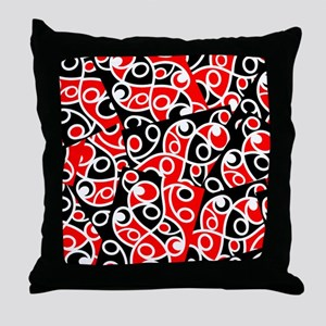 Layered Red And Black Maori Kowhaiwha Throw Pillow