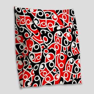 Layered Red And Black Maori Ko Burlap Throw Pillow