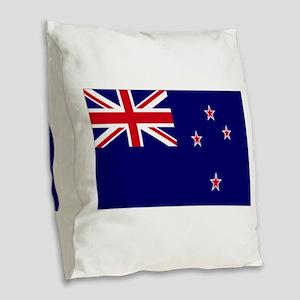 New Zealand flag Burlap Throw Pillow