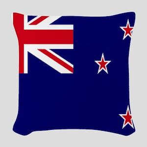 New Zealand flag Woven Throw Pillow