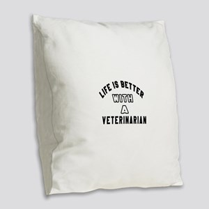 Veterinarian Designs Burlap Throw Pillow