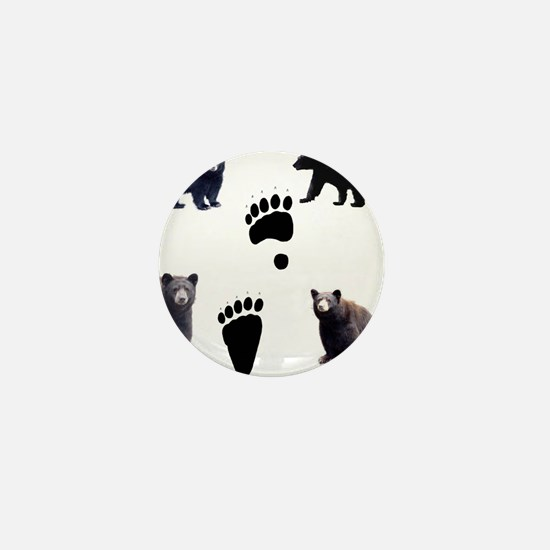 Black Bears and Tracks Mini Button
