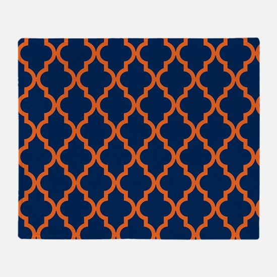 Moroccan Pattern: Orange & Navy Blue Throw Blanket