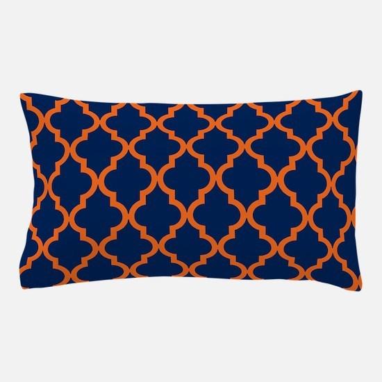 Moroccan Pattern: Orange & Navy Blue Pillow Case