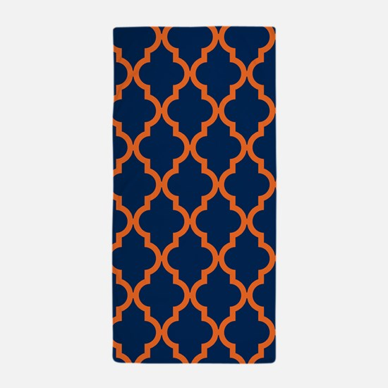 Moroccan Pattern: Orange & Navy Blue Beach Towel