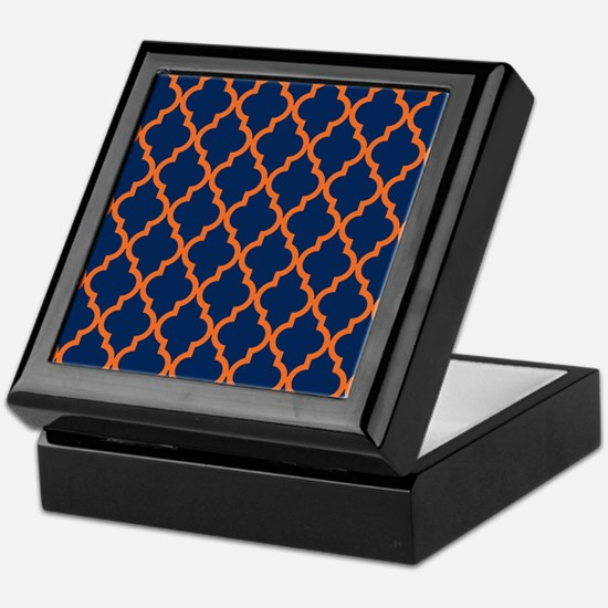 Moroccan Pattern: Orange & Navy Blue Keepsake Box