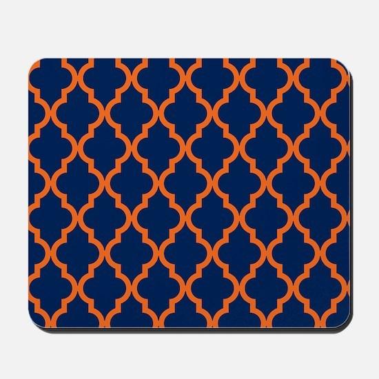 Moroccan Pattern: Orange & Navy Blue Mousepad