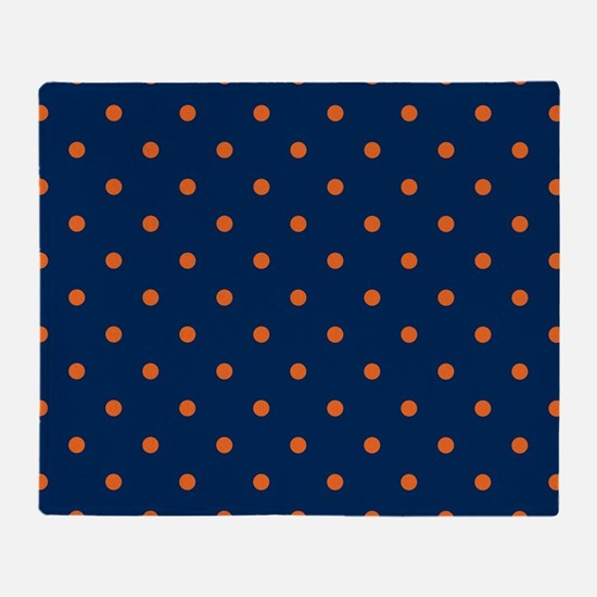 Polka Dots: Orange & Navy Blue Throw Blanket