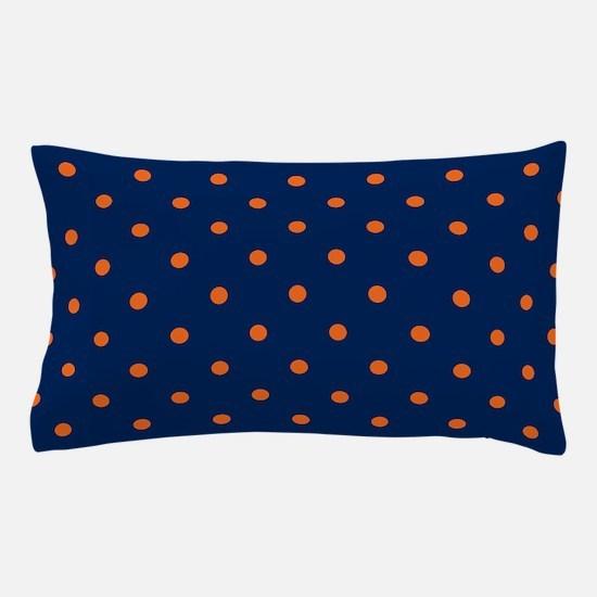 Polka Dots: Orange & Navy Blue Pillow Case