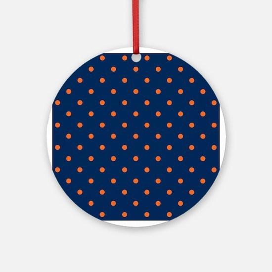 Polka Dots: Orange & Navy Blue Round Ornament