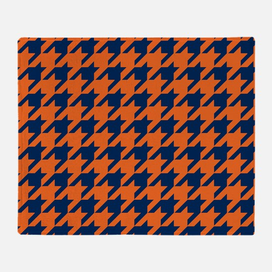 Houndstooth Checkered: Orange & Navy Throw Blanket