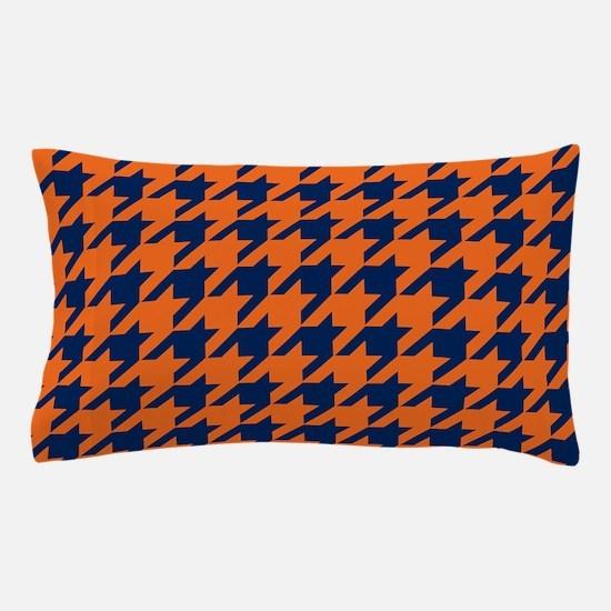 Houndstooth Checkered: Orange & Navy B Pillow Case