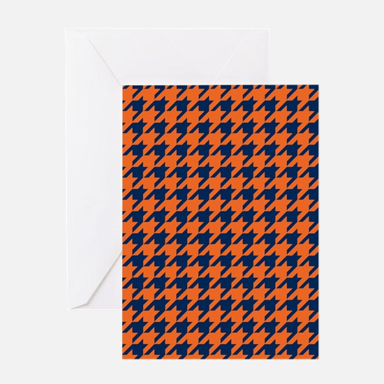 Houndstooth Checkered: Orange & Navy Greeting Card