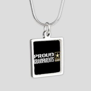 U.S. Army: Proud Grandpare Silver Square Necklace