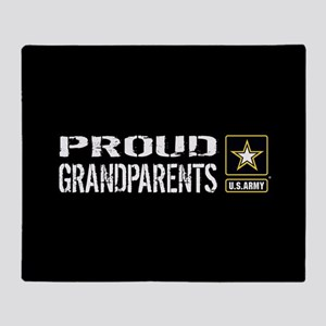 U.S. Army: Proud Grandparents (Black Throw Blanket