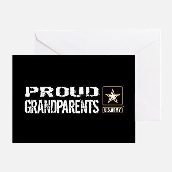 U.S. Army: Proud Grandparents (Black Greeting Card