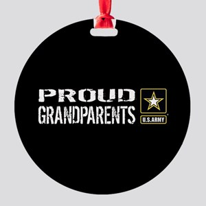 U.S. Army: Proud Grandparents (Blac Round Ornament