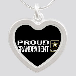 U.S. Army: Proud Grandparent Silver Heart Necklace