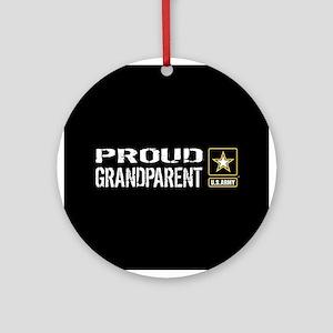 U.S. Army: Proud Grandparent (Black Round Ornament