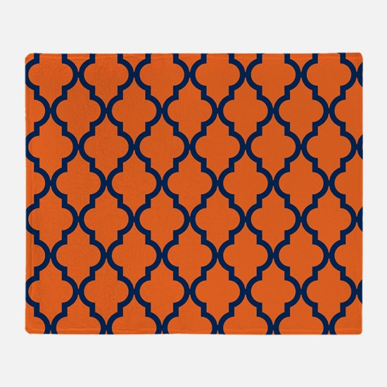 Moroccan Pattern: Navy Blue & Orange Throw Blanket