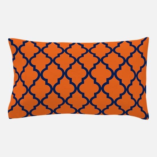 Moroccan Pattern: Navy Blue & Orange Pillow Case