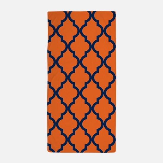 Moroccan Pattern: Navy Blue & Orange Beach Towel