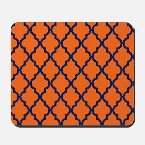 Moroccan Pattern: Navy Blue & Orange Mousepad