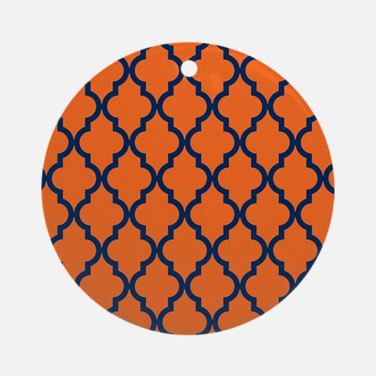 Moroccan Pattern: Navy Blue & Orang Round Ornament