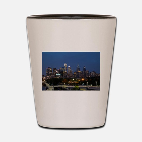 Philly skyline from Schuylkill Banks bo Shot Glass